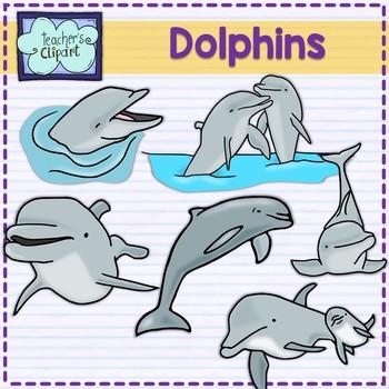 Dolphins Clip art  Summer aquatic animals