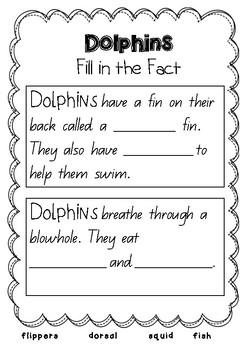 Dolphins Mini Writing Unit
