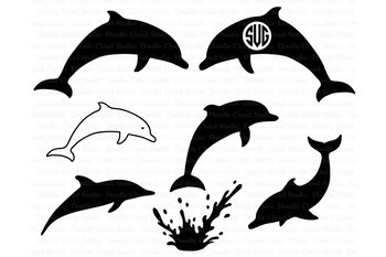 Dolphins SVG, Dolphin Monogram, Dolphin SVG  PNG files.