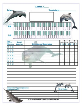 Dolphins Themed Piano Lesson Assignment Sheet *SUMMER LESSONS*