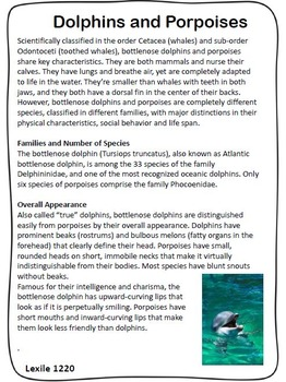 Dolphins and Porpoises Close Read Aligned with FSA Question Stems