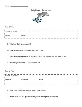 Dolphins at Daybreak Magic Tree House #9 Comprehension and Assessment Packet