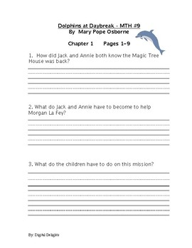 Dolphins at Daybreak: Magic Tree House #9 Reading Comprehension Questions