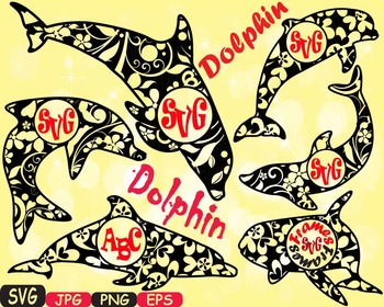 Dolphins frame school Clipart party ocean sea animals shape Dolphin fish -414s