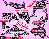 Dolphins split school Clipart party ocean sea animals shape Dolphin fish -415s