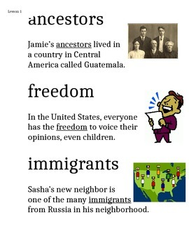Domain 11: Immigration Common Core Vocabulary Cards