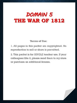 Domain 5: The War of 1812 Extensions and Word Work -SAMPLE
