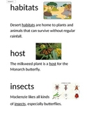 Domain 8 Insects common core Vocabulary Cards