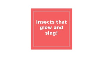 Domain 8 Insects that glow and sing