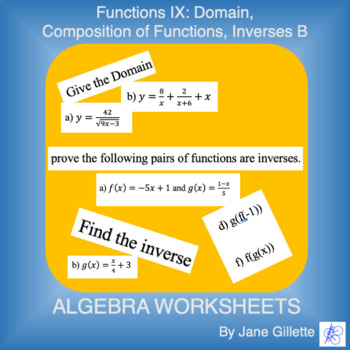 Domain, Composition of Functions, Inverses B