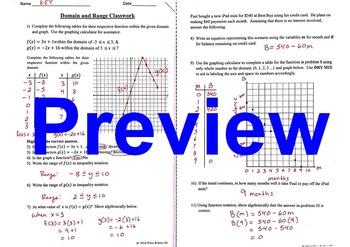 Domain & Range Classwork