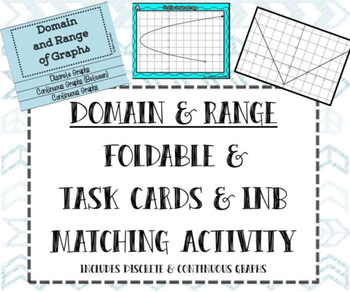 Domain & Range Foldable, Matching Task Cards, and INB Matc