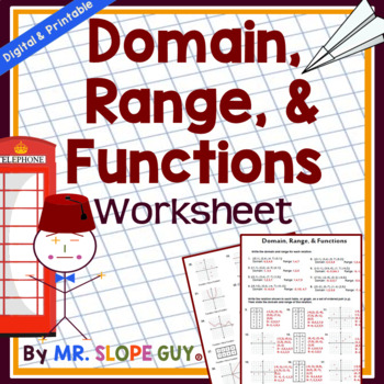 Domain and Range of Functions Worksheet by Mr Slope Guy | TpT