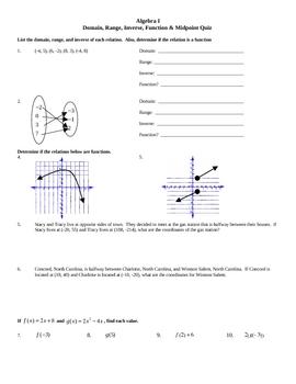 Domain, Range, Inverse, Function, & Midpoint Quiz-2versions (w/Key)