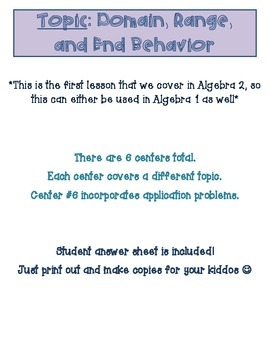 Domain, Range, and End Behavior Review Centers