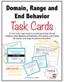 Domain, Range and End Behavior of Functions Task Cards