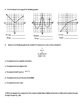 Domain, Range, and Polynomials Test