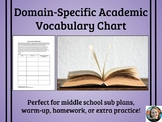 Domain Specific Academic Vocabulary Chart