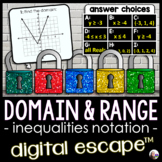 Domain and Range Digital Math Escape Room [INEQUALITIES NOTATION]