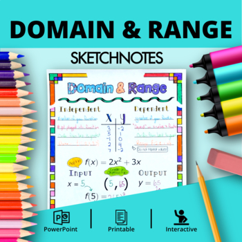 Algebra: Domain and Range Doodle Notes with PowerPoint