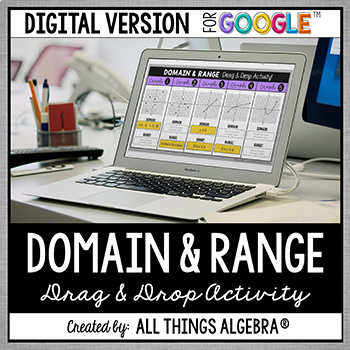 Domain and Range Drag and Drop Activity: DIGITAL VERSION (for Google Slides™)