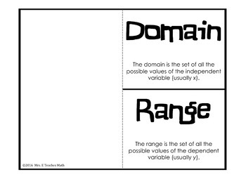 Domain and Range Foldable