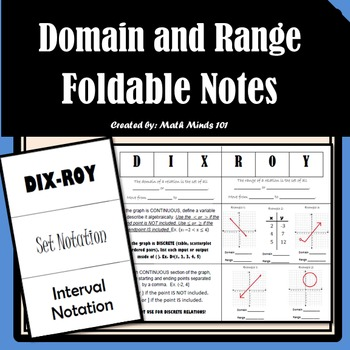 Domain and Range - Foldable Notes
