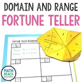 Domain and Range Fortune Teller Activity