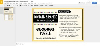 Domain and Range (From a Graph) Puzzle - GOOGLE SLIDES VERSION!