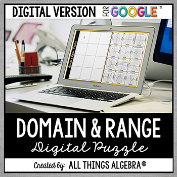 Domain and Range (From a Graph) Puzzle: DIGITAL VERSION (for Google Slides™)