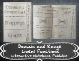 Domain and Range - Linear Functions Foldable
