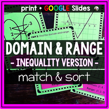 Domain and Range Matching Activity {INEQUALITIES VERSION}