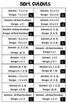 Domain and Range Matching Activity {INEQUALITIES VERSION}