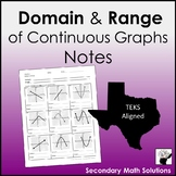 Domain and Range (of Continuous Graphs) Notes