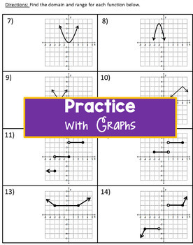 Domain and Range Practice for Functions and Graphs