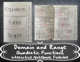 Domain and Range - Quadratic Functions Foldable