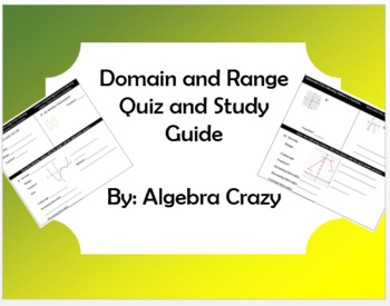 Domain and Range Quiz and Study Guide