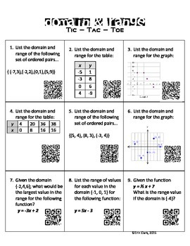 Domain and Range Tic-Tac-Toe with QR Codes