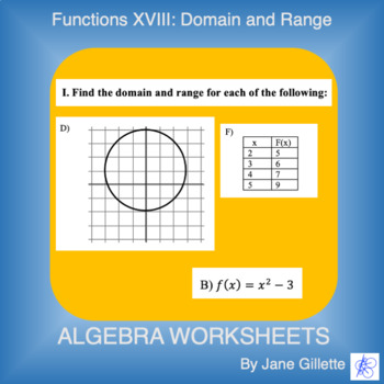 Domain and Range Worksheet with Answers