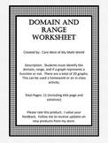 Domain and Range Worksheets