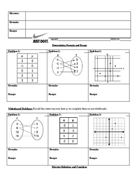 Domain and Range (discrete) guided notes