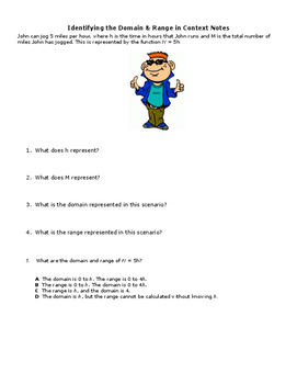 Domain and Range in Context Word Problem Notes