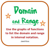 Domain and Range of Functions in Interval Notation