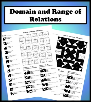 Domain and Range of Relations Color Worksheet