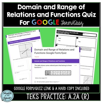 Domain and Range of Relations and Functions Google Form/Quiz