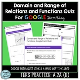 Domain and Range of Relations and Functions Quiz for Google Form/Quiz