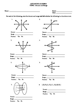 Domain and Range w/ graphs worksheet by Math Guru and Little Guru