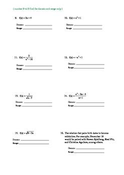 Domain and range worksheet 10 answer key