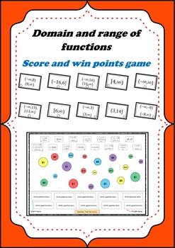 Domain and range of functions - Scoring points game