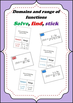 Domain and range of functions - Solve show and stick Review game